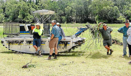 The Truxor machine at work on water weed. The machine is hired by the Bundaberg Regional Council when needed. Photo: BUNDABERG REGIONAL COUNCIL