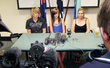 Cameron and Kiera Grieve tell a press conference about the tragic events which led to their mother Pauline's drowning on Sunday. Also pictured here is Pauline's sister Lara Thompson.