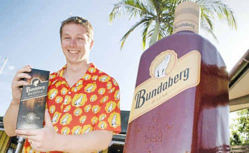 Ben Prince was flown to Bundaberg to collect his prize after winning a Bundaberg Rum online competition.