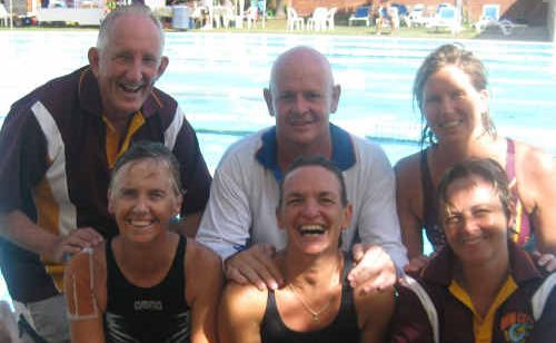 Rob Wilkinson, Bruce Lovett, Trudy Ford, Ros Hodge, Tracy Dunn and Lexie Towner after competing on the Sunshine Coast at the weekend.