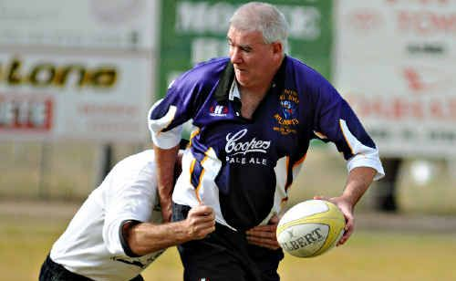 Golden Oldies Rugby boss Steve Summerell in action during a match.