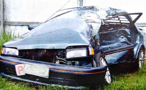The car driven by Samantha Smith following the accident that claimed her boyfriend's life.
