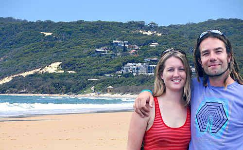 Victorian bushfire victims Liz Hoffman and Callan Hughes enjoyed a holiday at Rainbow Beach this week one year after wildfires ravaged their home town.
