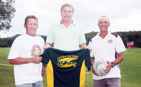 Neil Cameron, Ray Wakefield and Serge Brecard get ready for their trip to New Zealand where they will play in the Australian over 50 Oztag team.