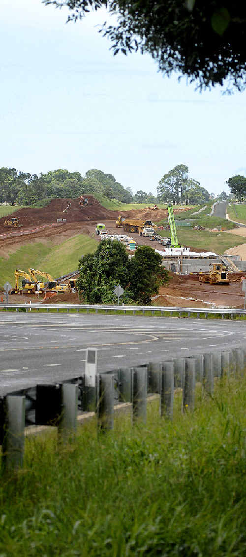 Alstonville bypass construction site near theRussellton Industrial Estate. An RTA spokesman says 40 to 45 per cent of the work on the bypass is done.