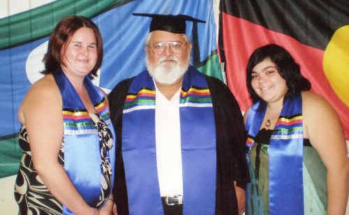 Maryborough's Bec Leaman, Clive Beale and Sera-Lyn Terare celebrate earning their diplomas.