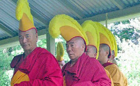 Thupten Tsundue (front) and other monks wishing you a happy Tibetan new year.