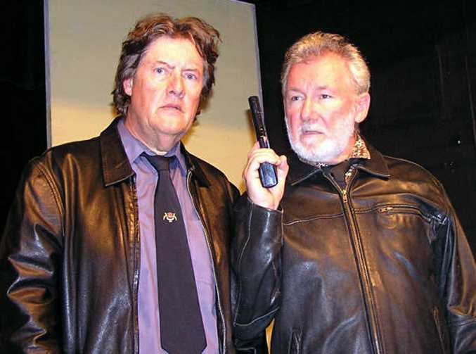 Russell Eldridge (left) and Mike Russo stole the show in the Mullumbimby Drill Hall Theatre Company's production of The Dumb Waiter.