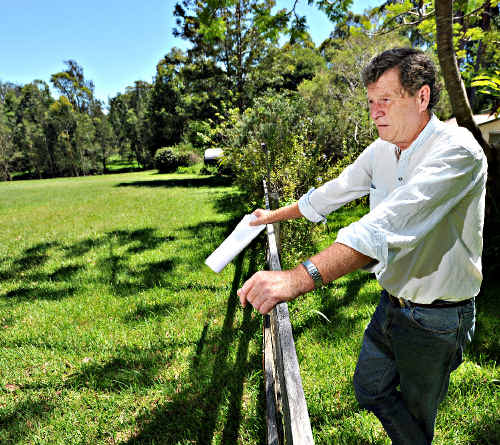 Moonee resident Paul Nicholls on his Hoys Road property which has now been resumed by the Roads and Traffic Authority.