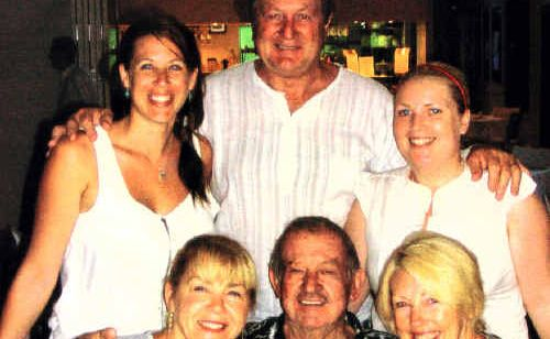 Don Porter (centre front) meets the daughters – Leonie (left) and Geraldine – he hasn't seen for half a century and family he never knew he had – son-in-law Kev Sheedy and grand-daughters Hayley (back left) and Chelsea.