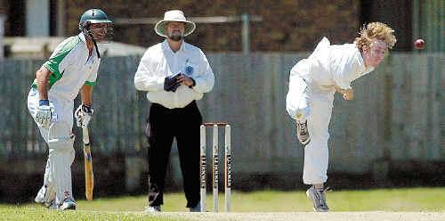 Workers' Daniel Cierpiol bowls to Lennox Head's Rameesh Kassim at Lennox Head on Saturday. The umpire is Laurie Axtens.