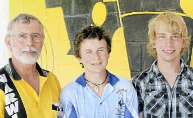 (From left) Warwick Pistol Club president Greg Morris, junior runner up Sam John and winner Brendan Lane at the Open Shoot.