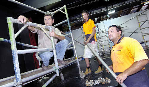 Artist Trevor Spohr with James O'Grady and Jarrod Laycock from Instant Access at the inception of his caged creation for Z-Pac.