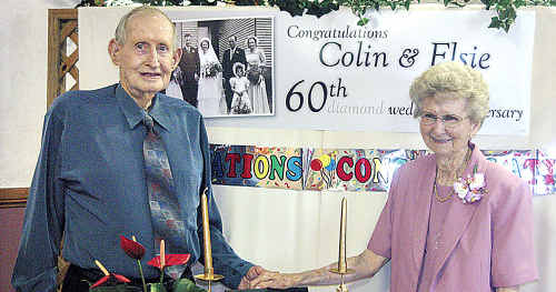 Colin and Elsie Lindenmayer celebrating their 60th wedding anniversary in 2008. Mr Lindenmayer died in a car crash while they were celebrating their 62nd anniversary on Sunday.
