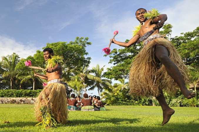 Traditional dancers in Fiji.