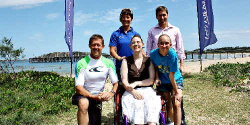 Luke Hartsuyker with Tessa Winters (DSA), Lyndon Kingston (BCU), and two participants Katie Corcoran (in wheelchair) and Bree