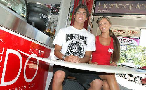 BRAZILIAN Quiksilver Pro wildcard, Gabriel Medina, 16, has been made to feel at home on the Gold Coast by his countrymen at the Little Lido Cafe in Coolangatta. Photo: CRYSTAL SPENCER D126525
