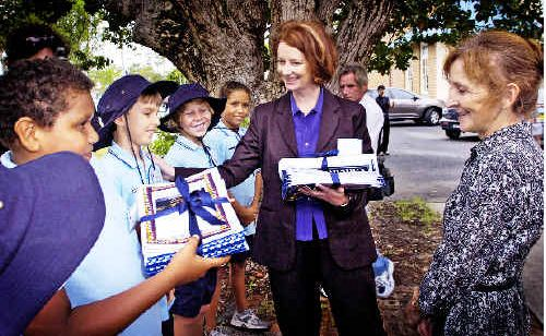 February 2010: Deputy Prime Minister Julia Gillard and Federal Member for Page Janelle Saffin accepted gifts from Ballina Public School students during Ms Gillard's visit to the region.