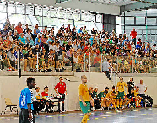 The Australian Futsal team played NSW Thunder on Sunday in Sydney as a fundraiser for the orphaned Sherry children.