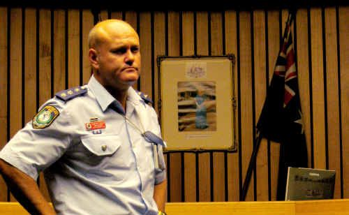 Coffs-Clarence crime manager Cameron Lindsay at yesterday's meeting in Maclean.
