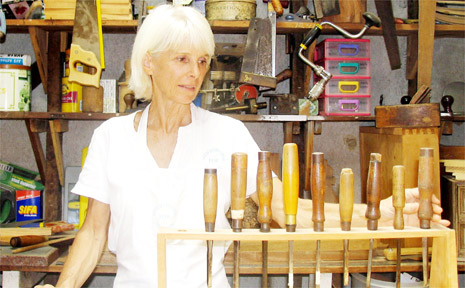 Patt Gregory with her tools in the Mullumbimby work shed.