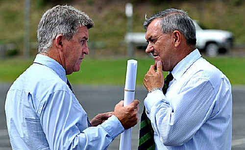 Council general manager Stephen Sawtell and Tony Kelly discuss plans.