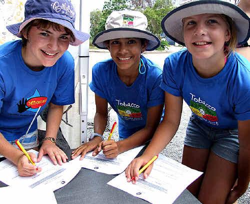 KABABINNA Browning, Naomi Van Saane and Cobey Grant do the paperwork.
