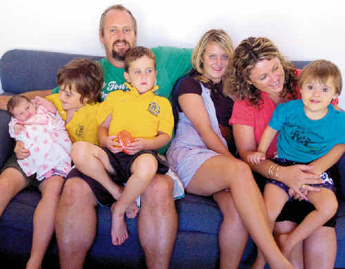 Andrew and Vicki Thornton have welcomed their fifth child to their Alstonville home. Cuddling up with mum and dad are (from left): Darcy, (9 days old), Nelson (11), Jack (6), Tori (14), and Riley (4).