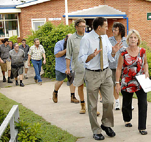 Kyogle High School teaching staff and NSW Teachers Federation representatives walking out of the school grounds.