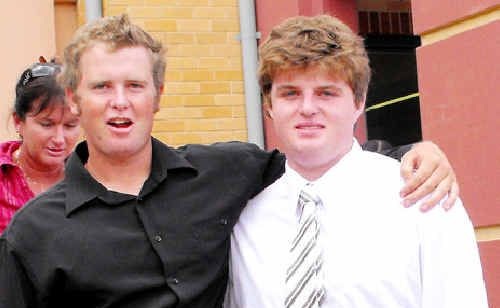 Shaun Vidler (right) and his mate Will Davis outside Lismore Courthouse.