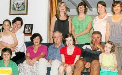 Back, from left) Breanna, Jennifer and Kimberley Smith, Naomi Rickert (nee Smith), (front) Christine, Olivia, 6, and Thomas Smith, 10, Pamela and Jim Smith, Olivia Rickert, 10, Andrew Smith and Alexandra Rickert, 4.