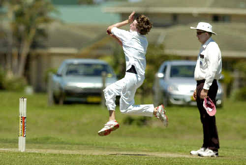 Dean Cameron bowling for Lismore Workers against Lennox Head last Saturday. Cameron took 2-25 from his eight overs. The umpire is Peter Kent.