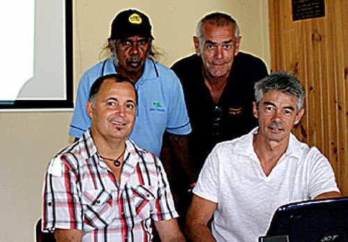 Project co-ordinator Steve Smith with elders Uncle Bing Laurie, Uncle Milton Duroux and web designer Stuart Robertson.