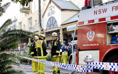 NSW Fire Brigade firefighters who responded to yesterday's fire at Cappuccino's Cafe in the Lismore Strand arcade in Molesworth Street.