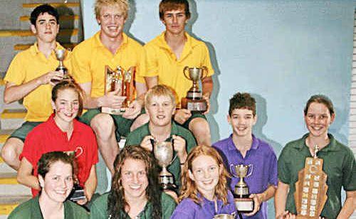 Scots PGC age champions: (Back, from left) Tim Sharpe, Matthew Kanowski, Matthew Compton; (middle) Grace Buchholz, Hadley Dearden, Alexander Brown, Amelia Cowley; (front) Elizabeth Cowley, Tegan Warrener and Emma Walton.
