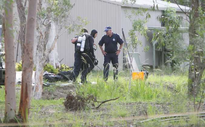 Police divers joined the search for a toddler at Cooroibah. Photo: Cade Mooney