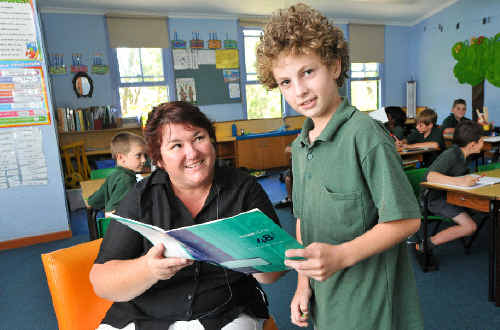Joshua Landi can now keep up with his lessons with teacher Jo Goodenough.