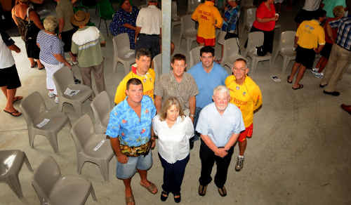 The official opening of the Minnie Water-Wooli Surf Life Saving club house took place on Sunday with a crowd of more than 100 people. (Back row from left) Brad Neill, Luke Hartsuyker, Richie Williamson and Tony Benfield. (Front row from left) Doug Jones, Kerry Clancy and Tony Haven.