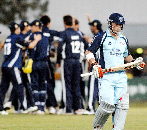 NSW's David Warner is out for 10 in his team's clash with Victoria at the Festival of Cricket held in Lismore last year. The Lismore City Council is negotiating to ensure that the festival returns to Oakes Oval this year.