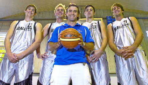 Ballina Breakers coach Marty Smith (centre) is flanked by some of his side's tall timber (from left) Jake King, Jayden Hetherington, Josh Latkovic and Dario Strebl.