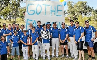 The Falcons team with their sponsors after a Texas Cricket Association grand final win.