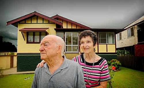Ossie and Marie Page in front of their Pound Street, Grafton, home of 55 years which will likely be bulldozed if the RTA goes for Option D of the proposed bridge crossing.
