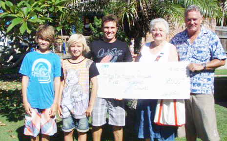 At the cheque presentation last week were (from left) Pascal Dattler, Jye Brien, paddle sponsor Danny Wills, hospital auxiliary member Marie Ronan and paddle sponsor Graham Dunn.