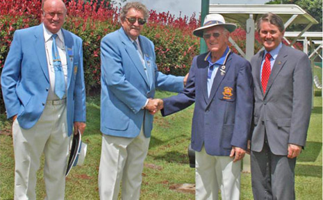 t the 100th birthday celebrations of the Bangalow Bowling Club on Saturday are (from left) Wilf Clark, NSW State Bowls Council; Ian McKnight, president Royal NSW Bowling Association; Noel Johnston, president Bangalow Men's Bowling Club; and Member for Ballina Don Page.