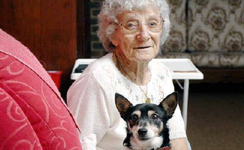 Clunes resident Beryl Barron, with Jessie, fears she won't live long enough to see a new sewerage system installed to replace her village's failing on-site septics.