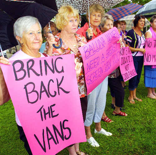 Ballina Breast Cancer Support Group members protest the removal of breast screening vans from Ballina and Byron Bay.