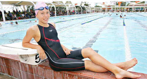 Kawana Waters State College student Chelsea Gubecka has broken one of Hayley Lewis's long-standing junior swimming records.