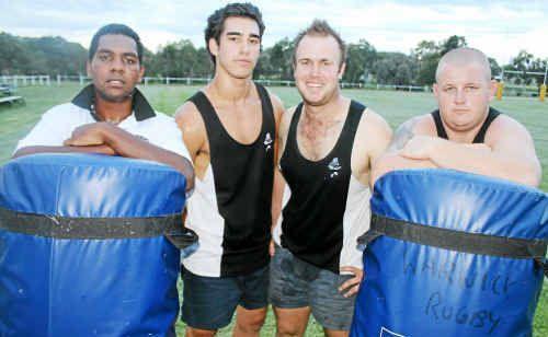 Warwick Water Rats players (from left) Nat Hooper, Conrad Van Kan, Ryan Smith and Rick Johnson at training on Tuesday night.