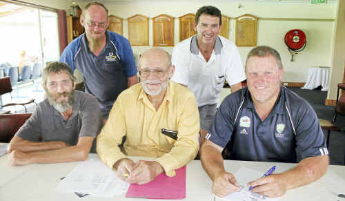 (Back, from left) Dave Zwoerner, Steve Farrell, (front) Don Campbell, Peter Pickering and Phil Rolfe at a planning meeting for the Condamine Sports Club Hockey Sevens.
