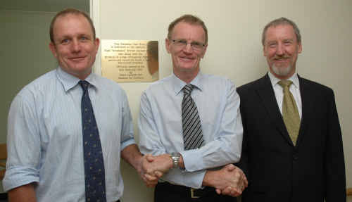 Clarence MP Steve Cansdell (centre) officially opens the new palliative care suite at Mareeba Aged Care with Mareeba directors Sam Baker (left) and Steve Gordon.